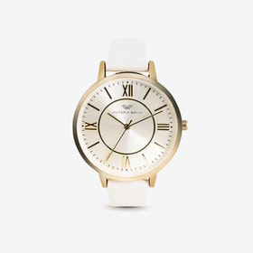 Gold Watch w/ Pearl Face & White Nappa Leather Strap