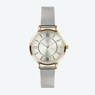 Gold Watch w/ Silver Face & Silver Milanese Mesh Bracelet