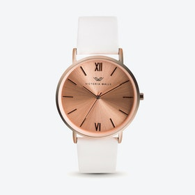 Rose Gold Watch w/ Rose Gold Face & White Nappa Leather Strap