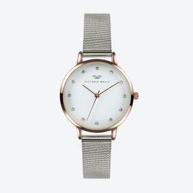 Rose Gold Watch w/ White Face & Silver Milanese Mesh Bracelet