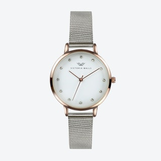 Rose Gold Watch w/ White Face & Silver Milanese Mesh Bracelet