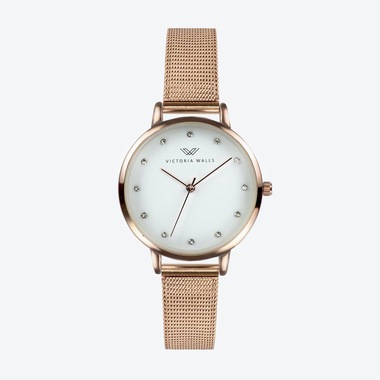 Rose Gold Watch w/ White Face & Rose Gold Milanese Mesh Bracelet