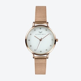 Rose Gold Watch w/ White Face & Rose Gold Milanese Mesh Bracelet