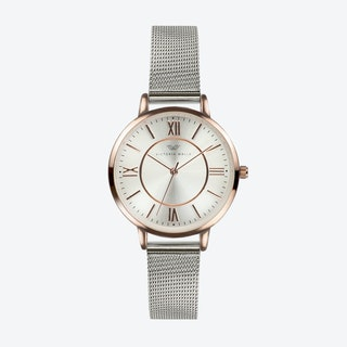 Rose Gold Watch w/ Silver Face & Silver Milanese Mesh Bracelet