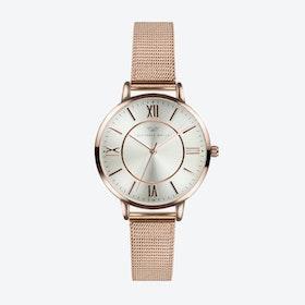 Rose Gold Watch w/ Silver Face & Rose Gold Milanese Mesh Bracelet