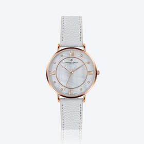Rose Liskamm Watch w/ Lychee White Leather Strap