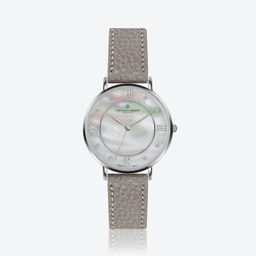 Silver Liskamm Watch w/ Lychee Grey Leather Strap
