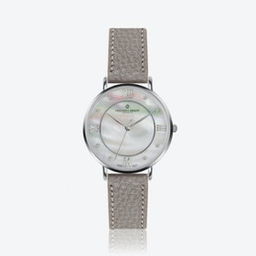 Silver Liskamm Watch w/ Lychee Grey Leather Strap