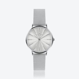 Silver Monte Rose Watch w/ Silver Mesh Strap