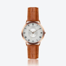 Rose Grand Combin Watch w/ Ginger Brown Croco Leather Strap