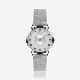Silver Grand Combin Watch w/ Silver Mesh Strap