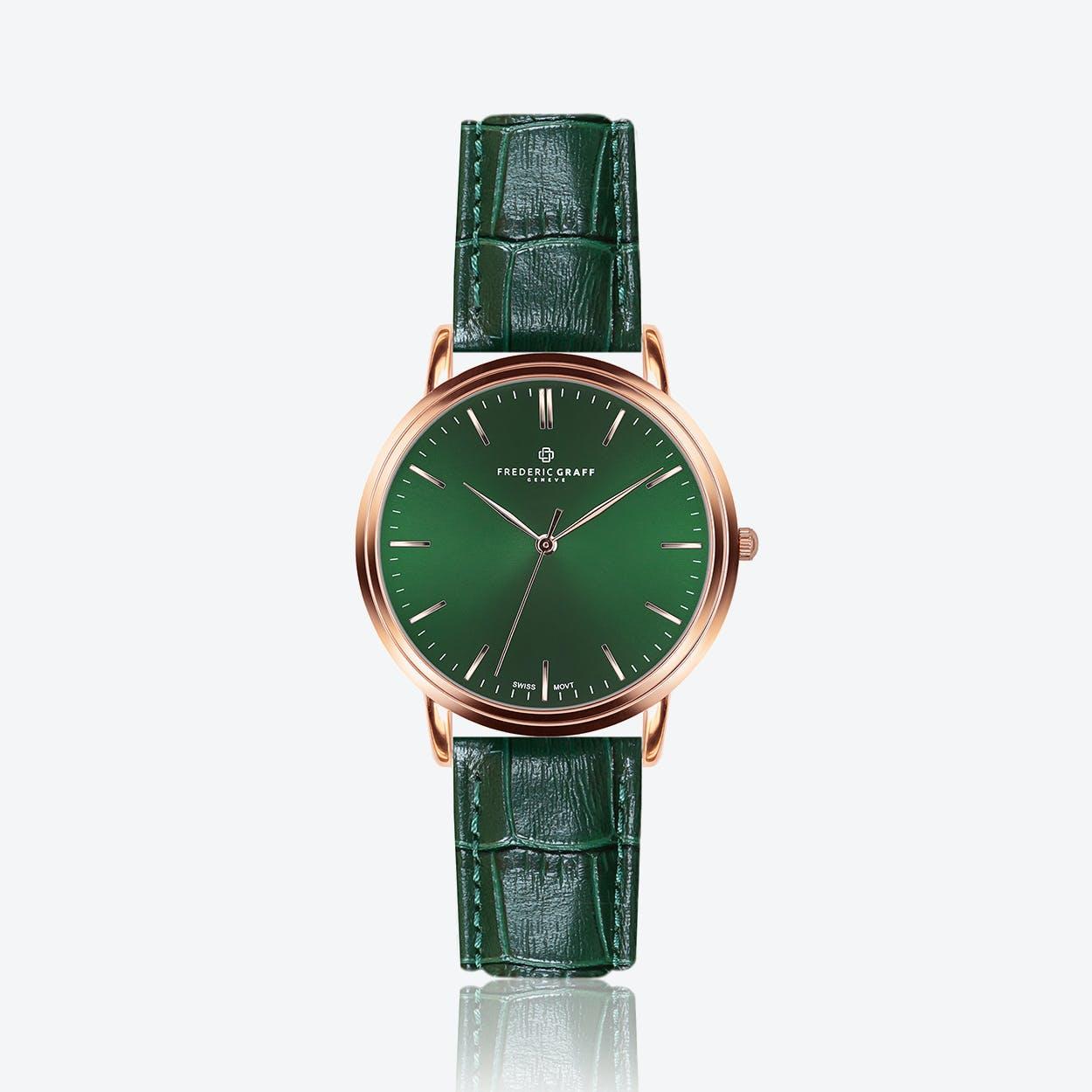 Rose Grunhorn Watch w/ Dark Green Croco Leather Strap