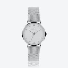 Silver Dent Blanche Watch w/ Silver Mesh Strap