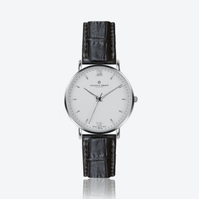 Silver Dent Blanche Watch w/ Black Croco Leather Strap