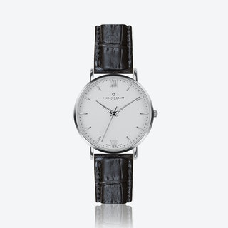 Silver Dent Blanche Watch w/ Black Croco Leather Strap