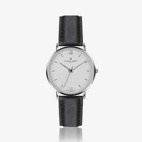 Silver Dent Blanche Watch w/ Black Leather Strap