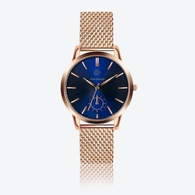 Rose Gold Mesh Wash w/ Dark Blue Sunray Face - Ø 42 mm