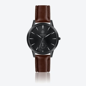 Smooth Brown Leather Watch w/ Matte Black Face - Ø 42 mm