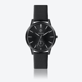 Black Leather Watch w/ Matte Black Face - Ø 42 mm