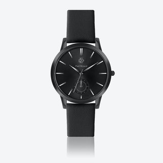 Black Leather Watch w/ Matte Black Face - Ø 42 mm