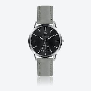 Grey Leather Watch w/ Grey Sunray Face - Ø 42 mm