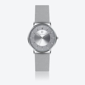 Silver Mesh Watch w/ Silver Sunray Face - Ø 40 mm