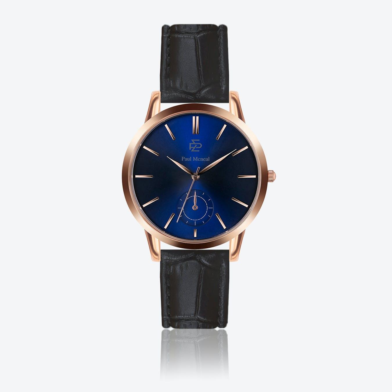 Croco Black Leather Watch w/ Dark Blue Sunray Face - Ø 42 mm