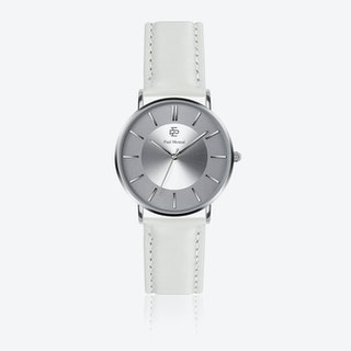 White Leather Watch w/ Silver Sunray Face - Ø 40 mm