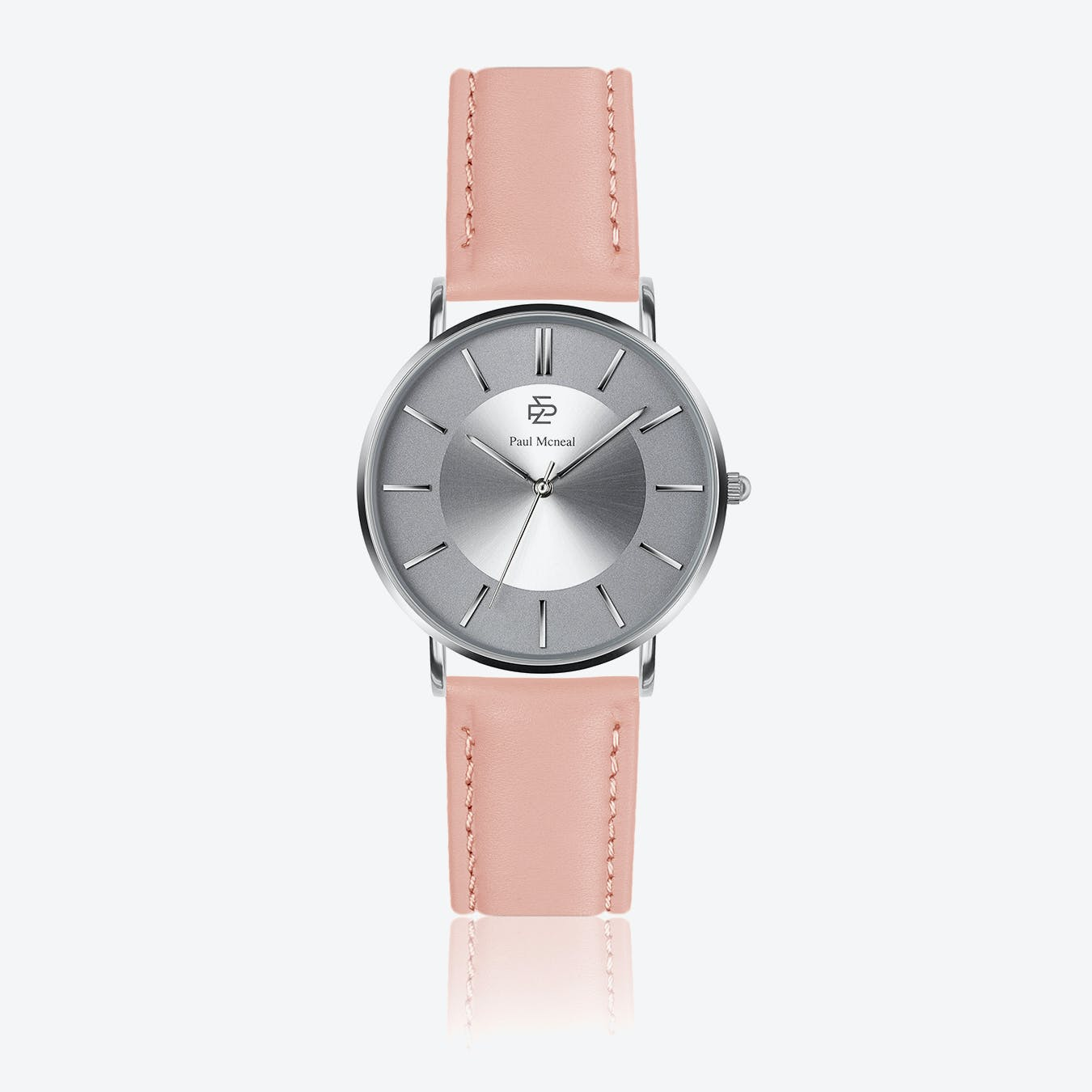 Pink Leather Watch w/ Silver Sunray Face - Ø 40 mm