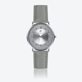 Grey Leather Watch w/ Silver Sunray Face - Ø 40 mm
