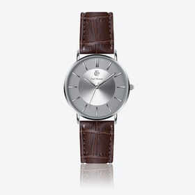 Croco Brown Leather Watch w/ Silver Sunray Face - Ø 40 mm