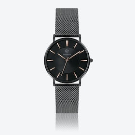 Matte Black Mesh Watch w/ Black Sunray Face - Ø 40 mm