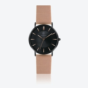 Matte Black Mesh Watch w/ Black Sunray & Matte Black Face - Ø 40 mm