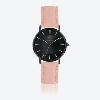 Pink Leather Watch w/ Black Sunray Face - Ø 40 mm