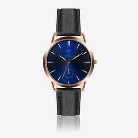 Smooth Black Leather Watch w/ Dark Blue Sunray Face - Ø 42 mm