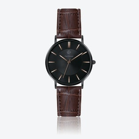 Croco Brown Leather Watch w/ Black Sunray Face - Ø 40 mm