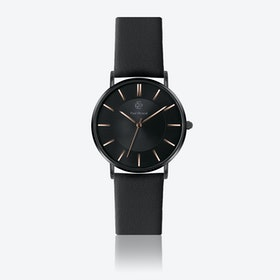 Black Leather Watch w/ Black Sunray Face - Ø 40 mm