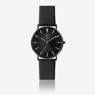 Black Leather Watch w/ Black Sunray Face - Ø 40 mm