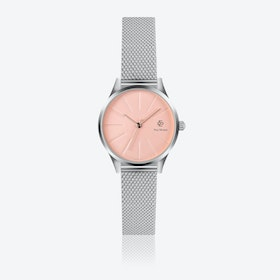 Silver Mesh Watch w/ Rose Gold Sunray Face - Ø 32 mm