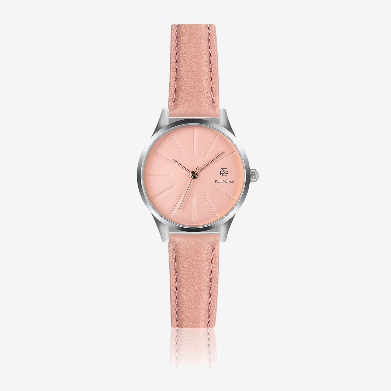 Pink Leather Watch w/ Rose Gold Sunray Face - Ø 32 mm