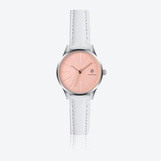 White Leather Watch w/ Rose Gold Sunray Face - Ø 32 mm