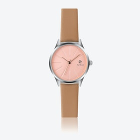 Camel Leather Watch w/ Rose Gold Sunray Face - Ø 32 mm