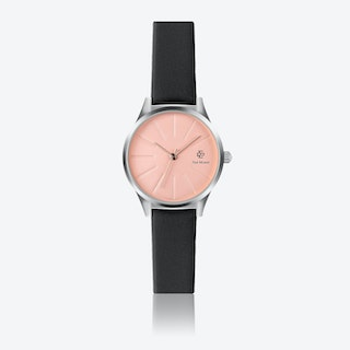 Black Leather Watch w/ Rose Gold Sunray Face - Ø 32 mm