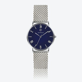 Silver Mesh Watch w/ Dark Blue Face - Ø 40 mm