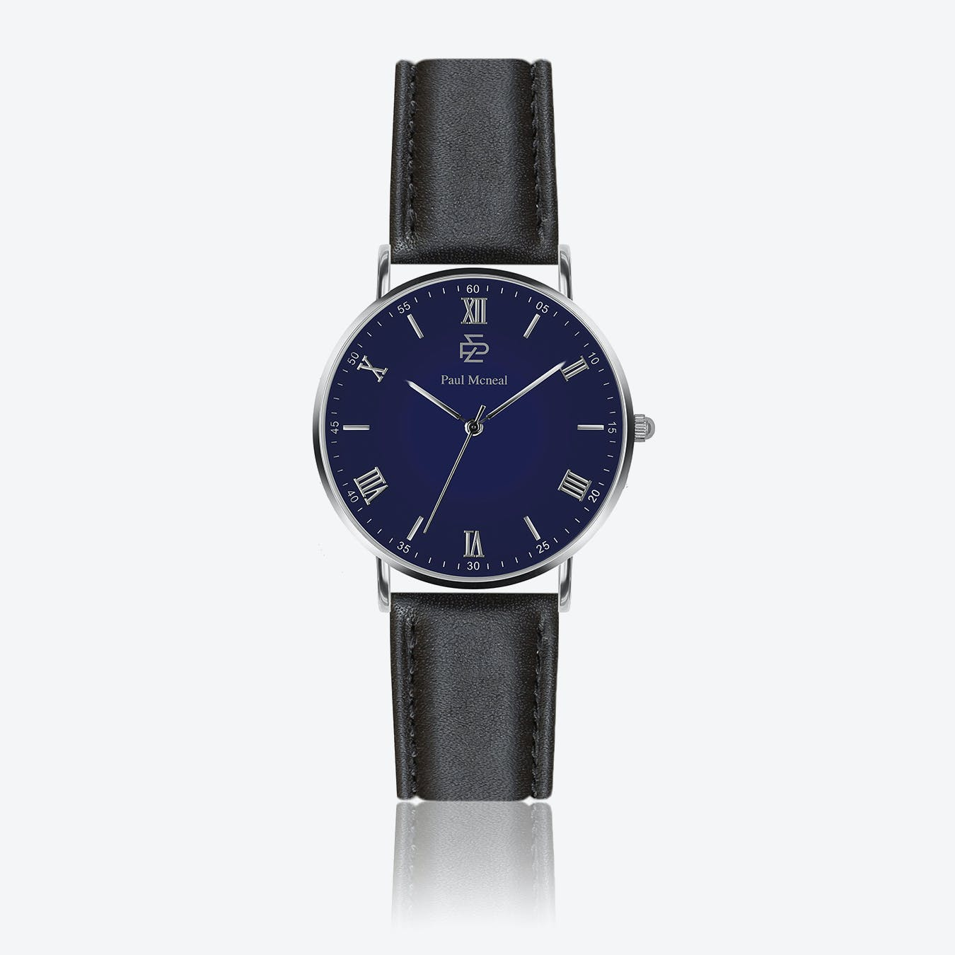 Smooth Black Leather Watch w/ Dark Blue Face - Ø 40 mm