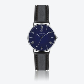 Smooth Black Leather Watch w/ Dark Blue Face - Ø 40 mm