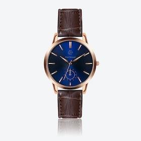 Croco Brown Leather Watch w/ Dark Blue Sunray Face - Ø 42 mm