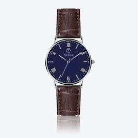Croco Brown Leather Watch w/ Dark Blue Face - Ø 40 mm