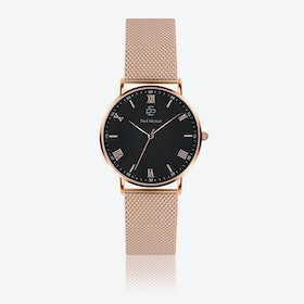 Rose Gold Mesh Watch w/ Matte Black Face - Ø 40 mm