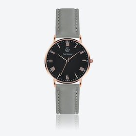 Grey Leather Watch w/ Matte Black Face - Ø 40 mm